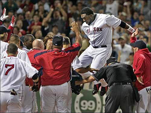 Sept. 6, 2005 Red Sox 3, Angels 2 David Ortiz had things jumping at Fenway Park after he connected for a ninth-inning homer to beat the Angels -- his sixth walkoff blast as a member of the Red Sox.