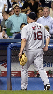 Wells hears it from the Yankee Stadium crowd as he is removed from the game in the middle of the sixth inning.
