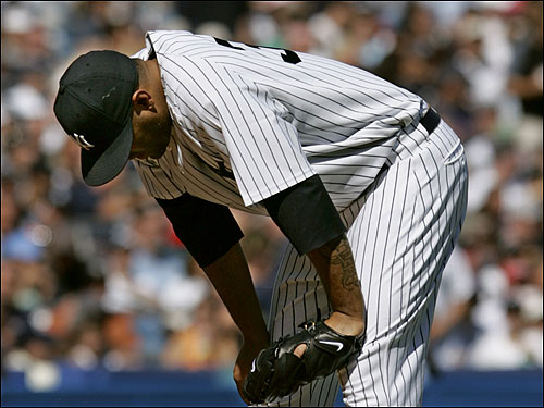 Yankees pitcher Shawn Chacon was dejected on the mound after giving up five runs in three innings before being replaced by Al Leiter.