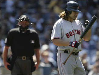 Red Sox leadoff hitter Johnny Damon struck out during the first inning at Yankee Stadium. Damon was 0 for 3 with one walk in yesterday&#146;s game.