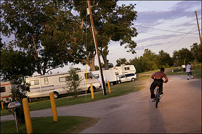 Gaylin Davis rode in Chase's RV Park in New Iberia, La. When his New Orleans apartment flooded, he lost his belongings.