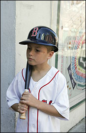Gregory Campbell, 8, of Harwinton, Conn., missed school yesterday to visit Fenway Park with his dad, Chris Campbell.