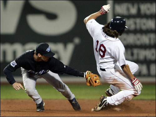 Red Sox center fielder Johnny Damon stole second base ahead of the tag of Toronto shortstop Russ Adams in the bottom of the ninth inning. Damon scored the winning run from there on David Ortiz's single.