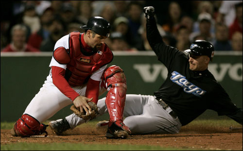 Red Sox catcher Jason Varitek forced Blue Jays third baseman Corey Koskie out at the plate on a fielder's choice in the fifth inning.