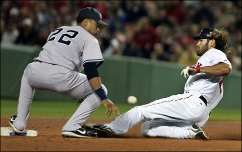 Johnny Damon slid safely into second with a first-inning stolen base. He had two swipes on the night, and three in his last two games.