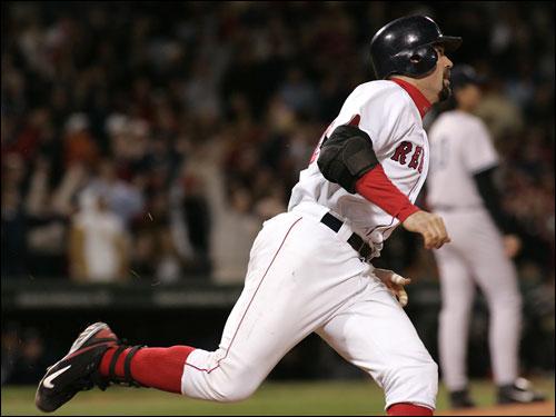 Jason Varitek hit his first homer in 100 at bats last night, a solo shot to center field.