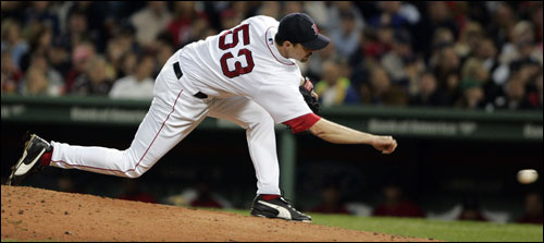 Red Sox reliever Chad Bradford retired the only Yankee he faced last night.