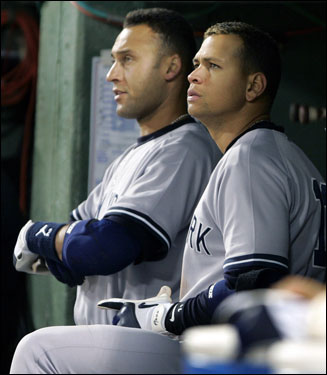 The Yankees' dugout in the top of the ninth was not a happy place Derek Jeter (left) and Alex Rodriguez (right) watch as Timlin recorded the save.