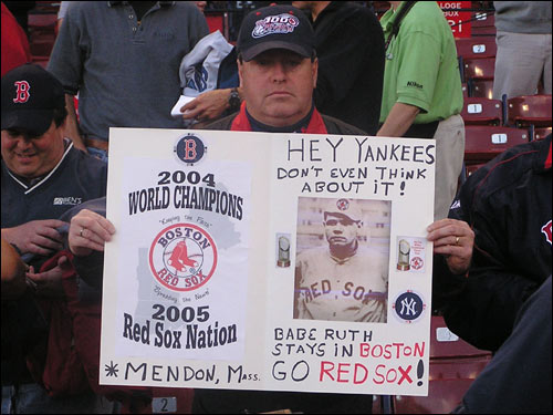 This sign-bearing Red Sox fan has strong feelings on the Babe.