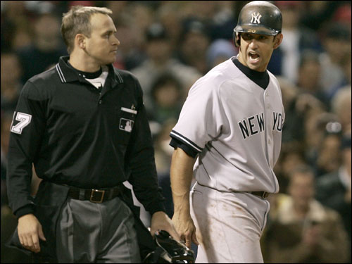 Jorge Posada argued a called third strike with umpire Mark Wegner in the eighth inning.
