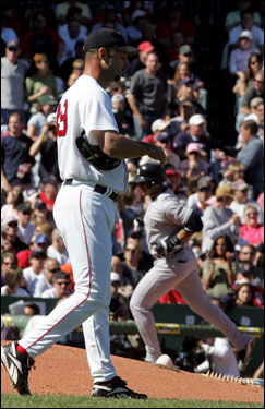 The early home runs took their toll on Red Sox starter Wakefield.