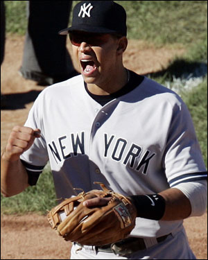 Alex Rodriguez reacted after a Randy Johnson strikeout.