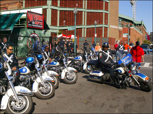 Boston police patrolled the grounds near Fenway before today's game against the Yankees.