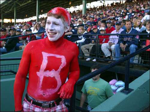 Red Sox fan Brian Napiany, from East Lyme, Conn., showed his team spirit at Fenway this afternoon.