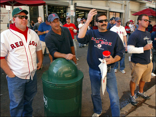 These Sox fans reacted to their team's struggles while watching the game on Yawkey Way.