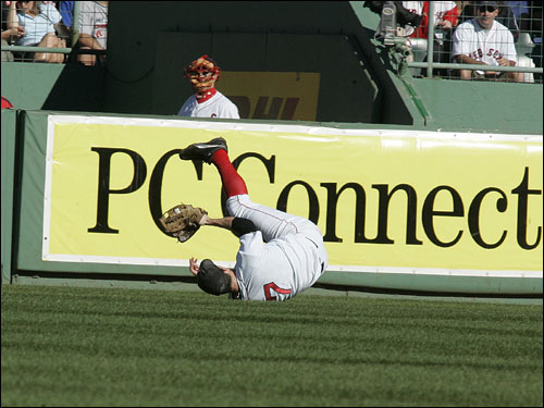 Trot Nixon robbed Bernie Williams of a hit in the seventh inning.