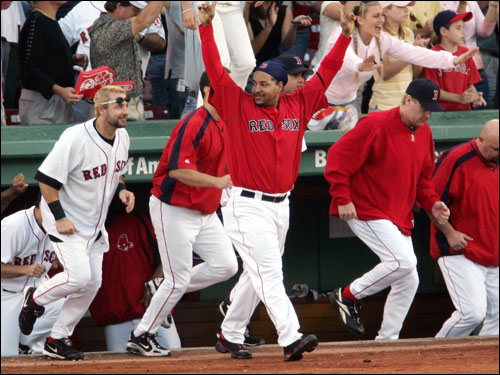 When it was all over, the Red Sox rushed the field as AL wild card champions.