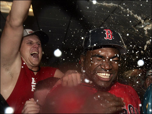 David Ortiz was showered with champagne in the post-game celebration.