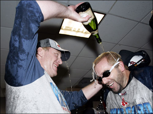 Schilling used that bottle to douse Kevin Millar, who came prepared with goggles.