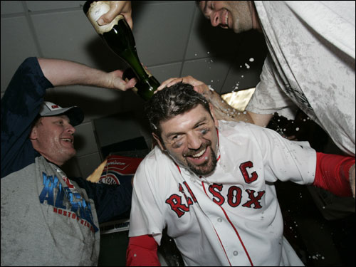 Jason Varitek, the captain, soaked in the moment.