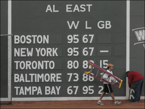 For good measure, the Fenway scoreboard standings were updated, putting Boston on top of New York, if only metaphorically.