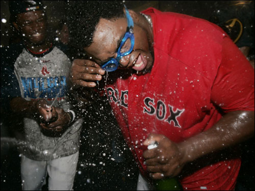 David Ortiz wisely decided to go with goggles himself.