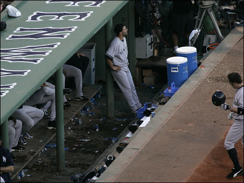Meanwhile, the Yankees dugout was subdued after Mark Bellhorn popped out to end the game.