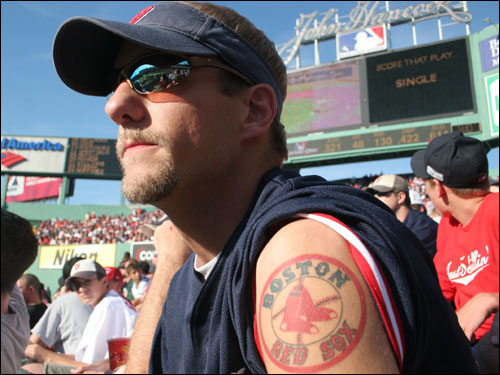 Not only does he have a Red Sox tattoo, but he traveled all the way from