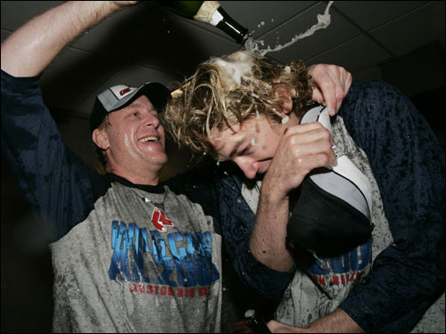 Bronson Arroyo received a postgame shower from Curt Schilling.