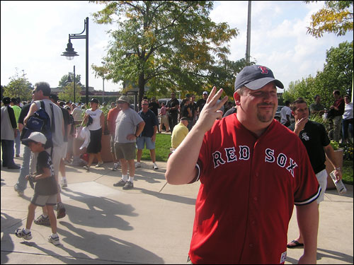 Chris Smith of Boston looked for tickets outside of US Cellular Field. Smith said tickets for Tuesday's Game 1 were going from anywhere from $300-$600.
