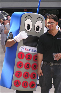 The US Cellular mascot greeted fans outside the stadium before Tuesday's game.