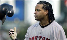 Sometimes you just tip your cap -- though that's not what Manny Ramirez had in mind after grounding out in the eighth. (Globe Staff Photo / Jim Davis) &nbsp;<a href='http://www.boston.com/sports/baseball/redsox/gallery/10_04_05_sox_sox' onclick='openWindow('http://www.boston.com/sports/baseball/redsox/gallery/10_04_05_sox_sox','','width=785,height=575,resizable=yes,scrollbars=yes,toolbar=no,location=no,menubar=no,status=no'); return false;'> Game photos &nbsp;<a href='http://www.boston.com/sports/baseball/redsox/gallery/10_04_04_game_1_scene' onclick='openWindow('http://www.boston.com/sports/baseball/redsox/gallery/10_04_04_game_1_scene','','width=785,height=575,resizable=yes,scrollbars=yes,toolbar=no,location=no,menubar=no,status=no'); return false;'> The scene &nbsp;<a href='http://www.boston.com/sports/baseball/redsox/extras/slideshows/alds/'> Audio slideshow