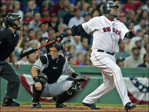 David Ortiz drove in his first run of the series with a solo homer in the fourth inning.