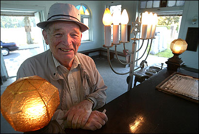 Irving Koss of Randolph in the chapel at Kaminker Cemetery, where he is a volunteer attendant. Ten chapels still remain at the Jewish cemeteries near Baker Street in West Roxbury.