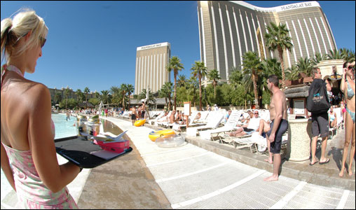 Cold drinks are available at Mandalay Bay for thirsty vacationers to enjoy by the pool.