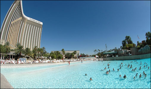 Not your average October day: vacationers relax at the Beach at Mandalay Bay. Mandalay Bay is one of Las Vegas' top hotels.