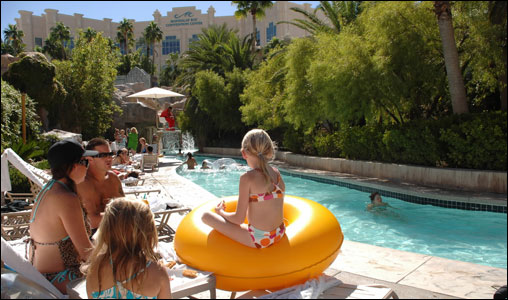 It would be easy to spend all day in the lazy river at Mandalay Bay.