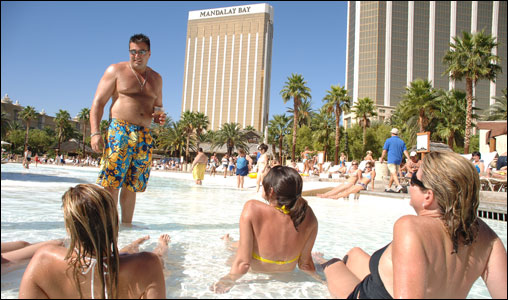 This is no kiddie pool. The shallow waters at Mandalay Bay provide a cool tanning place for visitors.