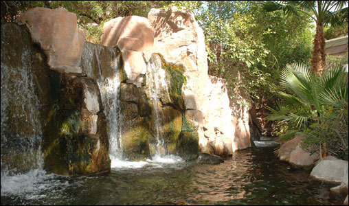It's hard to believe that this sunlit waterfall at the Flamingo Pool is in Las Vegas, and not on a faraway exotic island.