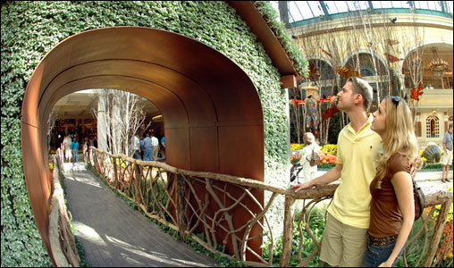 The green archway at the Bellagio Conservatory looks more like a gateway to paradise.