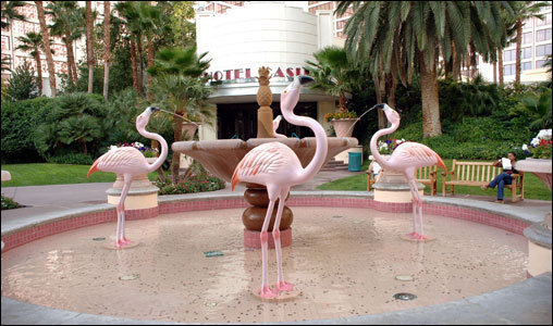 The flamingo fountain, at the entrance to the Flamingo Pool, at the Flamingo Hotel (we're starting to see a theme).