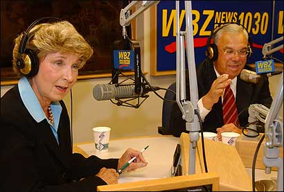 Councilor at Large Maura Hennigan squared off against Mayor Thomas M. Menino last night in a debate at the WBZ Radio studios hosted by Paul Sullivan. Hennigan stepped up her attacks, which drew an angry response from Menino.