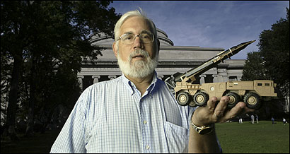 Ted Postol holds a model of a Scud missile launcher at MIT. After the Gulf War, the Patriot missile system won praise for shooting down Iraqi Scuds - until Postol spoke up.