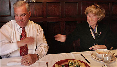 Mayor Thomas M. Menino and Councilor Maura A. Hennigan reached to shake hands at the conclusion of their lunch.