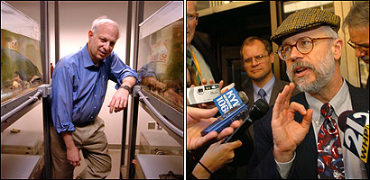 Dr. Marc Kirschner (left), head of the systems biology department at Harvard Medical School, in a laboratory with many species of frogs. Systems biology represents an interdisciplinary approach that he hopes will further the public understanding of evolution. Lehigh University biochemistry professor Michael Behe (right), speaks to reporters after testifying in federal court in Harrisburg, Pa., last Monday. Behe is the originator and main proponent of the term ''irreducible complexity,'' a pillar of Intelligent Design.