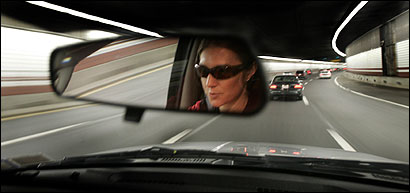 Julia Stamps drove north on the expressway on her way to a meeting.