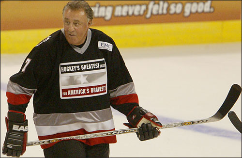 Phil Esposito, like many of his former Bruin teammates, participates in a benefit alumni game, this one for the Leary Firefighters Foundation.