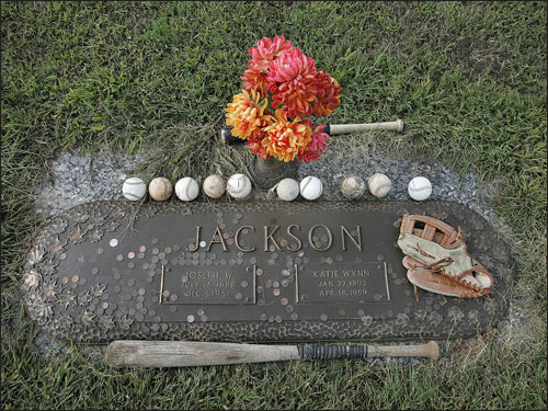 Mementos often are left by fans at the grave marker of Shoeless Joe Jackson and his wife, Katie, at the Woodlawn Memorial Cemetery.