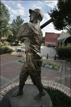The statue honoring Shoeless Joe Jackson, located in the west end of Greenville, S.C.