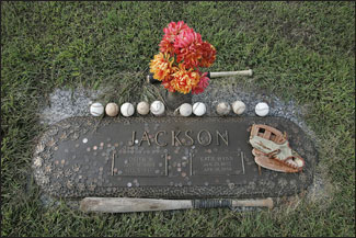 Mementos often are left by fans at the grave marker of Shoeless Joe Jackson and his wife, Katie, at the Woodlawn Memorial Cemetery. (Globe Staff Photo / Stan Grossfeld) &nbsp;<a href='http://www.boston.com/sports/baseball/articles/2005/10/25/10_25_05_shoeless' onclick='openWindow('http://www.boston.com/sports/baseball/articles/2005/10/25/10_25_05_shoeless','','width=775,height=585,resizable=yes,scrollbars=yes,toolbar=no,location=no,menubar=no,status=no'); return false;'> Photos